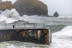 Mullion Cove Storm (Peter Fellowes) Tags: seastorm cornishstorm cornwall port mullionharbour mullioncove rocks tide surge waves storm