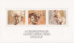 Deutsche Briefmarken (micky the pixel) Tags: briefmarke stamp ephemera deutschland bundespost block nobelpreisträger literatur gerharthauptmann hermannhesse thomasmann