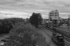 Charlottesville (davekrovetz) Tags: downtown sky railroad trains k70 pentax monochrome clouds