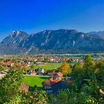 Autumnal panorama of Kiefersfelden in the river Inn valley with Kaiser mountains, Bavaria, Germany thumbnail