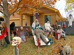 Potpourri of Halloween (Carl Neufelder) Tags: halloween decorations skull ghost stocks electricchair colorado