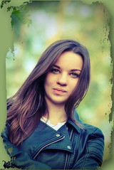 Cat Eyes (endresárvári) Tags: hungary hungarian budapest girl teen young teengirl hungariangirl younglady cateye cateyes schoolgirl pretty sexy nice beauty beautiful green openair leatherjacket brunette longhaired
