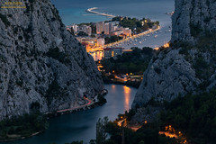 River Cetina delta in coastal town of Omis on the Adriatic sea, Dalmatia, Croatia (Alen Ferina photography) Tags: omis omiš dalmatia croatia hrvatska adriatic mediterranean europe europeanunion eu sea coast elevatedview view scenic panorama panoramic trees river cetina rocks summer boats ships pier ship boat canyon urban landscape horizontaloriented landscapeoriented historical history traditional night evening bluehour streetlights citylights oldtown cityscape townscape traffic trafficlights lighttrails cartrails reflections architecture buildings rivercetina delta