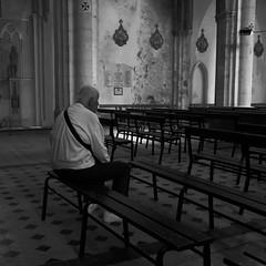 Ces pensées dont nous ne savons rien... (woltarise) Tags: église recueillement père intérieur banc ardèche france ricohgr 85ans pensées