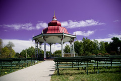 as the day unwinds under purple skies (image mine) Tags: bandstand benhces colors h