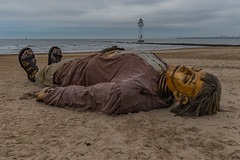 Shipwrecked male Giant at New Brighton, Wirral (paullee66416) Tags: giant love wirral lighthouse sea breakers