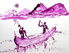AFRICA TO THE NAKED 252 (eduard muntada) Tags: africa to the naked 252 africanpeople river sun light mountains survive simpkicity purple blue basic