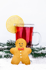 Christmas background with mulled wine and snow-covered Christmas tree branches and gingerbread man (wuestenigel) Tags: ginger gingerbread winter decor snowflake table eve background holiday lemon man newyear christmastree branch christmas mulledwine drink spices weekend white weihnachten noperson keineperson glass glas celebration feier advent cinnamon zimt decoration dekoration cold kalt getränk sweet süss icee homemade hausgemacht lebkuchen cup tasse desktop fruit obst tea tee season jahreszeit zitrone