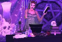 Black Magic Woman (hunnibear86) Tags: blackmagic qe blackfair darkpassions darkstylefair tdsf tbf twe12ve evilbunnyproductions zfg tlb thelittlebat zombiesuicide salem magic imageessentials sorceress sorcery witch pentagram foxy xxxtasi kite tentacio flairnstyle sl wedosl gachaland gacha earring crystal power spell blood potion skull halloween october cauldron almamakeup cosmetics bento identitybodyshop tattoo