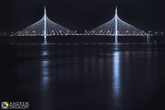 Bridge (Andrew V. Zhigaloff) Tags: landscape architecture bridge building cable city cityscape dusk electric evening highway illuminated landmark light lights night ocean pacific reflection reflections reflex river riverside road roadway sky steel tower tranquil twilight urban water waterfront way