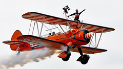 Wing Walkers (Bernie Condon) Tags: wingwalkers girls ladies aerobatics wingwalking aerosuperbatics boeing stearman trainer vintage classic preserved aircraft plane biplane fbo farnborough airshow display flying aviation