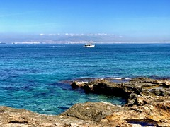 The fishboat with the seagulls. (AchillWandering) Tags: water sea seagulls fishboat island greece vagia aegina vowel rocks