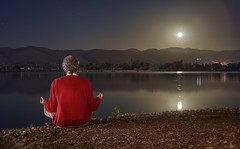 Meditation with out-of-body experience (PeterThoeny) Tags: fremont sanjose california siliconvalley sanfranciscobay sanfranciscobayarea southbay park centralpark lake shore lakeshore night outdoors moon fullmoon moonrise reflection meditation person red sony sonya7 a7 a7ii a7mii alpha7mii ilce7m2 fullframe vintagelens dreamlens canon50mmf095 canon 1xp raw photomatix hdr qualityhdr qualityhdrphotography water landscape fav100