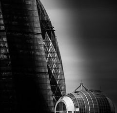 Peek a Boo... (Aleem Yousaf) Tags: peek boo monochrome black white stmary axe commercial skyscraper city london dramac fine art building modern architecture leadenhall norman foster ken shuttleworth glass steel tower skyline closeup details nikon 200500mm nikkor sky vantage point graduated filter lines curves picture capital downtown design camera digital standing tall grey overcast day gothic