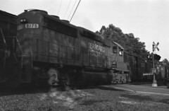 Passing Trains At Forest Glen (DJ Witty) Tags: emd dieselelectric freight locomotive railroad photography csxt train sd402 seaboard forestglen maryland usa pentaxk1000 agfapan