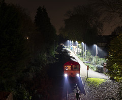 Leaves off the line: Railhead Treatment Train at Coryton, Cardiff (Dai Lygad) Tags: trains railways railroads transport railheadtreatmenttrain coryton corytonbranch cardiff caerdydd viewof autumn leaves leaffallseason dbcargo networkrail class66 engines locomotives nighttime evening november 2018 atnight stock photos photographs pictures images photography freetouse attributionlicense attributionlicence station creativecommons jeremysegrott wales uk unitedkingdom greatbritain southwales flickr headlights beams geotagged nocturnal world outside forwebsite forwebpage forblog forpowerpoint forpresentation