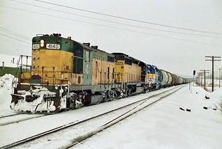 CNW 4140 west in La Crosse, Wisconsin on January 12, 1991.
