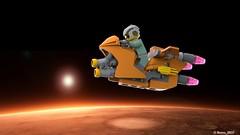 06 RETRO SPACE HERO'S SPACEBIKE - Left Side Art (Nuno_0937) Tags: lego ideas classic space spaceship ship moc retro hero minifigure