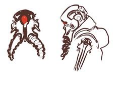 Cyclops (Scruffy Mynxbane) Tags: cyclops clunkers space scifi illustration character design gunner weapon expert flightsuit helmet sketch drawing