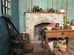 7. Tabitha's kitchen (Foxy Belle) Tags: kitchen hearth miniature old fashioned doll dollhouse 19th century new england food 16 scale scene playscale window fireplace