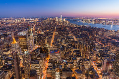 Sunset over Manhattan (woozy95) Tags: cityscape city manhattan new york usa building sunset night lights colorful