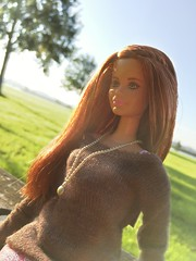 Red n' rockin' it. (dolldudemeow24) Tags: barbie fashionistas cln69 doll 2015 red hair ginger pink sweet cute brown sweater skirt boots fall autumn fashion collection bench wood trees sunlight rays of light blue sky morning grass 2018