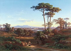 Johann Jakob Frey - View of Rome as Seen from Monte Mario (1850) (Pau NG) Tags: johannjacobfrey landscape people trees water art paintings 1850