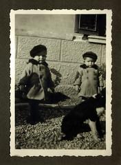 i gemelli con il cane - Vicenza novembre 1936 (dindolina) Tags: italy italia veneto vicenza gemelli twins vignato family famiglia history storia 1936 1930s thirties annitrenta vintage cane dog