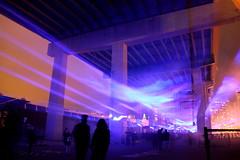 WATERLICHT in the Bentway (wyliepoon) Tags: downtown toronto fort york bentway gardiner expressway night light waterlicht water installation art display highway freeway elevated long exposure daan roosegaarde