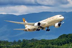 A6-BLA - Etihad B789   GVA (Karl-Eric Lenne) Tags: a6bla etihad geneva boeing 787 789 787900 runway takeoff moutains