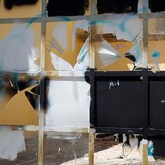 art despite destruction - ii (Star Tornero Photo) Tags: decay 20181016140949 broken glass frame metal rust oxidation destruction vandalism square paint blue white black yellow m1