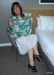 Should I slip into something more comfortable (janegeetgirl2) Tags: transvestite crossdresser crossdressing tgirl tv ts heels nylons glamour summer satin dress jane gee outside air museum brighton green flower tangmere arundel half slip gloss tights