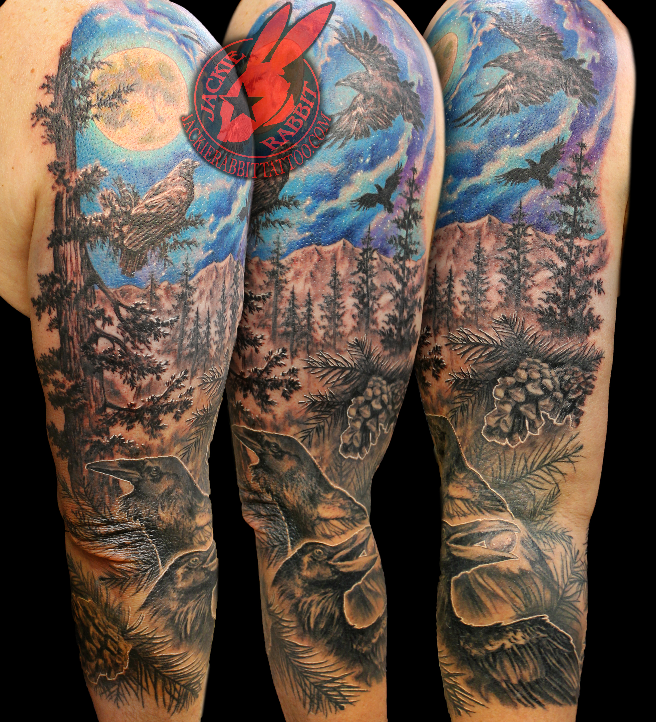 2f87e1895 ... Tattoo by Jackie Rabbit Ravens Pine Cone Branch Tree Moon Sky Night  Color Forest Nature Bird Black and Grey Sleeve ...