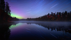 Autumn night in River Kitkajoki (M.T.L Photography) Tags: fall autumn night sky startrail riverkitkajoki kuusamo juuma suomi trees forest river stream rocks water ruska wood leaves nikond810 auroraborealis revontulet northernlights mikkoleinonencom mtlphotography