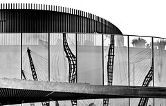 ] [ reflection of the O2 ] [ (christikren) Tags: reflection london building christikren blackandwhite lines bw reflexion mirrorimaging reflet monochrome greenwich o2arena