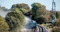 The blowing away shot (Peter Leigh50) Tags: train trees track shadows shed railway railroad rural rail fujifilm fuji freight autumn xt2 dust wind wagon stone