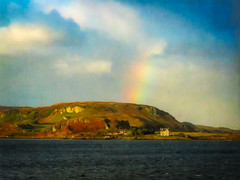 After the Storm (Colormaniac too - Many thanks for your visits!) Tags: irishsea obanharbor afterthestorm rainbow clouds calmafterstorm morning travel scotland colorful oban topazstudio distressedtextures netartll