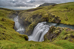 *** (azhukau) Tags: nature waterfall iceland landscape scenics outdoors mountain water river greencolor grass beautyinnature travel summer stream rockobject moss tourism nopeople canyon fog