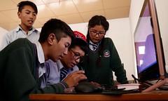 Students at Wanla Secondary School learning keyboard skills, image: S Jigmet