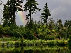 Parting gift (MoodyGoat) Tags: mtshuksan picturelake rainbow fog cascades washington nationalpark
