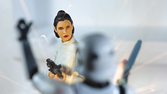 Bespin Escape (3rd-Rate Photography) Tags: princessleia leiaorgana starwars stormtrooper blaster bespin cloudcity toy toyphotography actionfigure female woman canon 5dmarkiii 100mm jacksonville florida carriefisher 3rdratephotography earlware 365