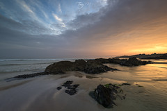 Blue Hole (Tony N.) Tags: france bretagne britanny finistère lepouldu kérou plage beach sunset orange blue bleu sky ciel nuages clouds rochers rocks sable sand tonyn tonynunkovics nikon nikkor1635f4 vanguard nisi nisiprov5 nisicplpro nisignd8