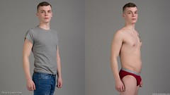 Diptych of man clothed and in underwear (StudioLads.com) Tags: male model man guy dude youth stud hunk boy lad pose studio photoshoot shirtless topless dressed undressed clothed unclothed strip stripping bulge underwear undie undies briefs jeans tshirt fashion trendy casual blue red hot horny sexy cute fit body physique chest nipple stand standing