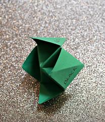 2018 Macro Mondays: Crinkled, Wrinkled, Folded or Creased (dominotic) Tags: 2018 macromondays crinkledwrinkledfoldedorcreased paperfortuneteller green sydney australia