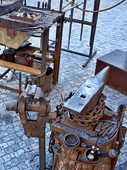 Still life with anvil (Yirka51) Tags: pliers fireplace hearth vise clamp anvil town street smith prague pavement openairmuseum old metal marketplace market iron historical historic hammer exhibition czechrepublic city centraleurope blacksmith