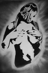 Come on (Marco Braun) Tags: frau femme woman schwarz weiss noire blanche erotik erotic kunst art young jung jeune face gesicht visage grafitti walart nackt nue naked black white