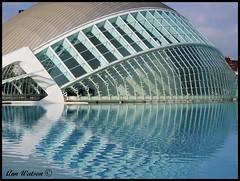 Hemisferic, City of Arts & Sciences, Valencia, Spain (mancunian61) Tags: spain valencia reflection hemisferic cityofartssciences water blue building glass santiagocalatrava architecture symmetry lines geometric