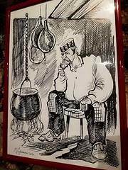 L'ANCÊTRE CROATE (busylvie) Tags: dessin plume encredechine ancêtre croate fermier styledevie chaudron braise cuisine jambons