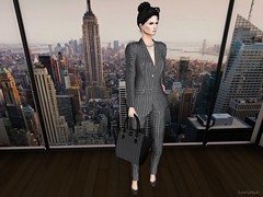 Entrance no.319 (Curiosse) Tags: outfit monochrome blazer pants handbag heels black gray 2018 luxeparis