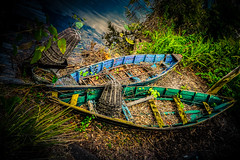Two Boats (crowt59) Tags: two boats fishing abandoned lr light room photomorphis texture crowt59 sony a6300 disney world orlando florida green blue